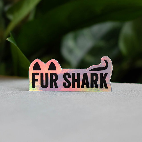 "Fur Shark Holographic 2.25"" Sticker"