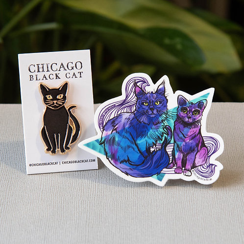 "Cat Pin + Mikita & Dahlia 3"" Sticker"