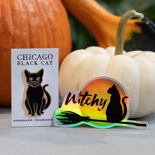 "Black Cat Pin + Witchy Holographic 3"" Sticker"