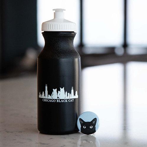 Button + Chicago Black Cat Water Bottle