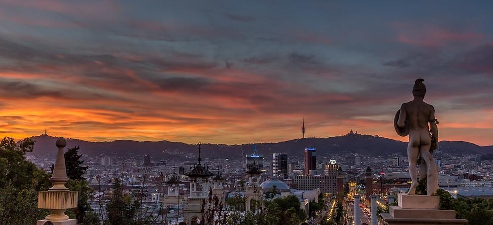 Вид с холма Монжуик, Барселона, Испания