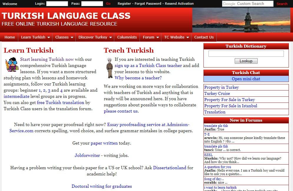 Англоязычный сайт для изучения турецкого TurkishClass
