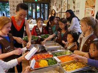 Inspires Girl Scouts to become Food Heroes at a Sproutworks Workshop
