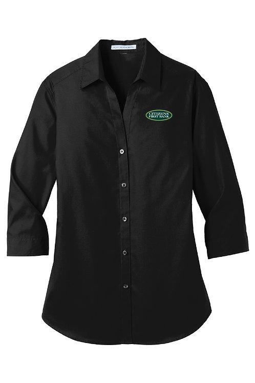 Ladies 3/4-Sleeve Poplin Shirt