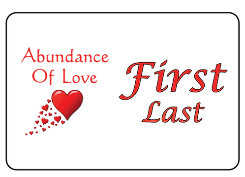 Abundance of Love Name Tag