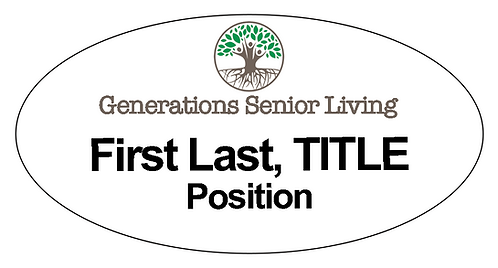 Generations Senior Living Name Tag