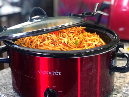 One Pot Crockpot Spaghetti