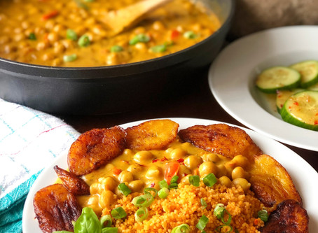 Curried Chickpeas & Jollofed Couscous