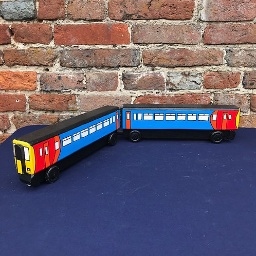 Electric Passenger Train in East Midlands livery - two carriages