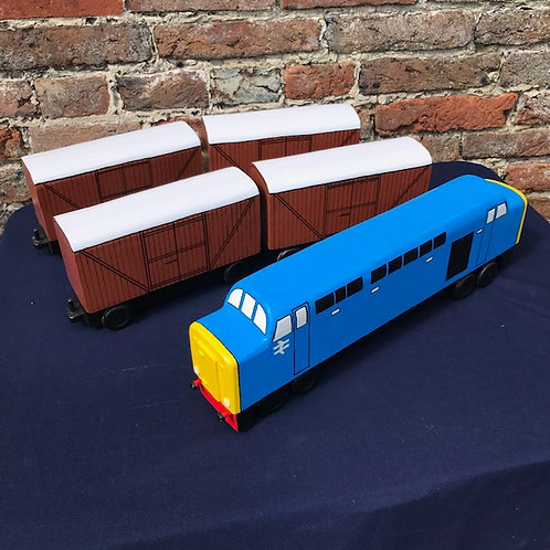 Large Diesel Train - engine & four covered wagons