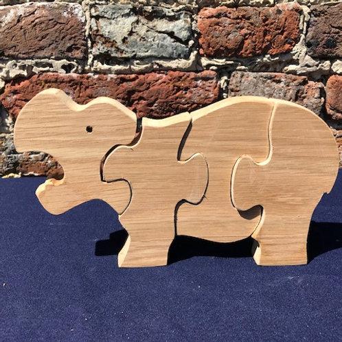 Hardwood Hippopotamus Puzzle