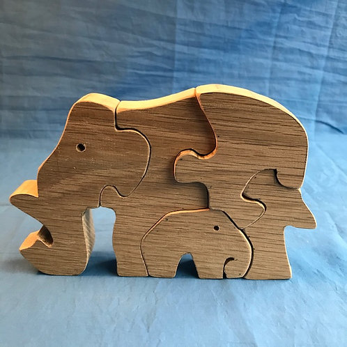 Hardwood Elephant with Baby Puzzle