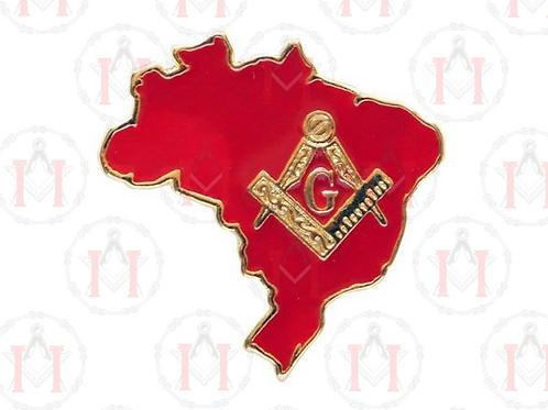 PIN MAPA DO BRASIL COM ESQUADRO E COMPASSO VERMELHO