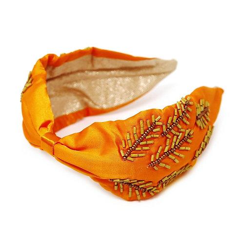 Crown Her: Beaded Orange Headband