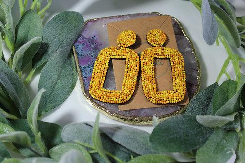 Beaded Mustard Lulu Earrings