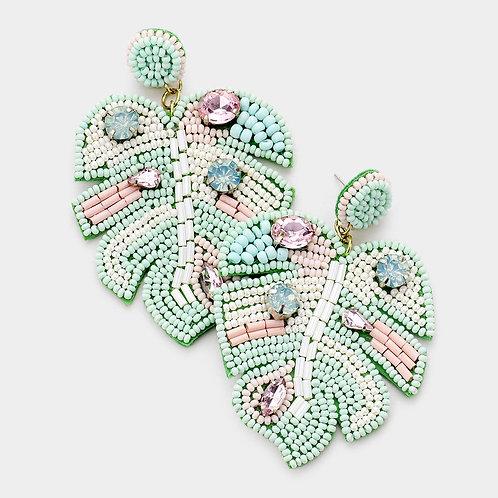Mint Tropical Leaf Earrings