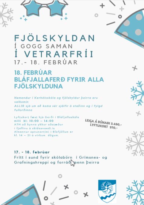 Vetrarfrí í grunnskólanum 17-18. febrúar