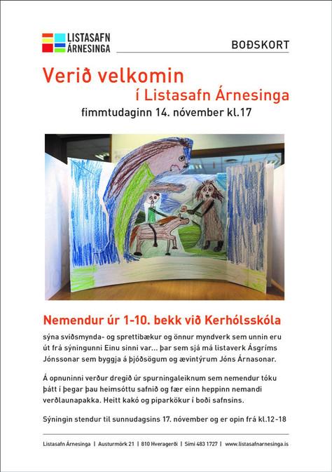 Nemendur Kerhólsskóla Sýna verk sín á Listasafni Árnesinga 14-17. nóvember