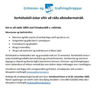 Kerhólsskóli óskar eftir að ráða aðstoðarmatráð.