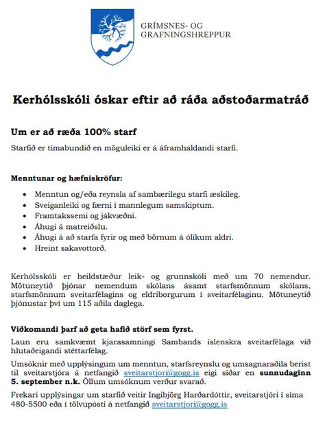 Kerhólsskóli auglýsir eftir aðstoðarmatráð