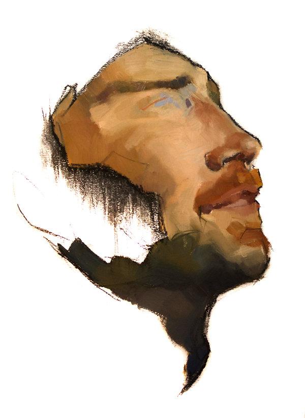 Kelly Frank Portrait Artist Studio London Female Artist Sky Portrait Artist of the year 2018 male face oil painting