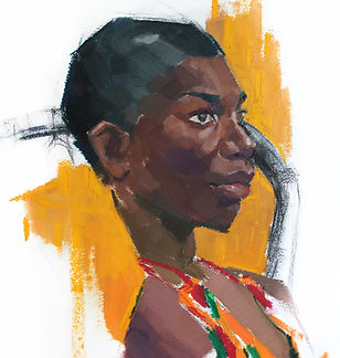 Kelly Frank Portrait Artist Studio London Female Artist Sky Portrait Artist of the year 2018 michaela coel female actress