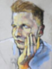 Kelly Frank Portrait Artist Studio London Female Artist Sky Portrait Artist of the year 2018 male face oil pastel