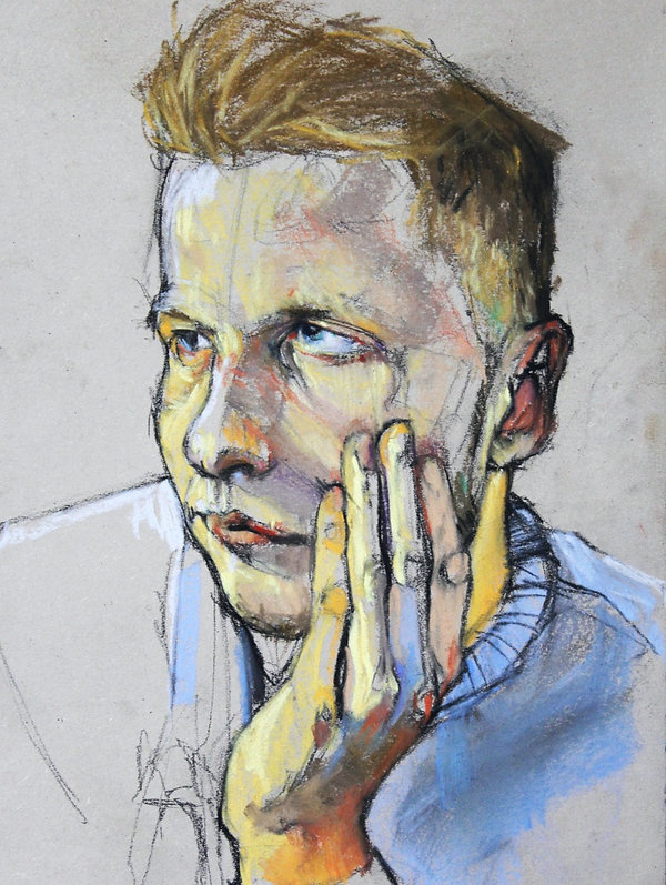 Kelly Frank Portrait Artist Studio London Female Artist Sky Portrait Artist of the year 2018 male face oil pastel