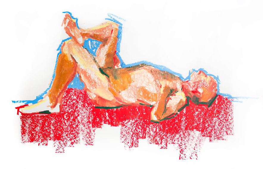 Kelly Frank Portrait Artist Studio London Female Artist Sky Portrait Artist of the year 2018 male nude life drawing gesture oil pastel