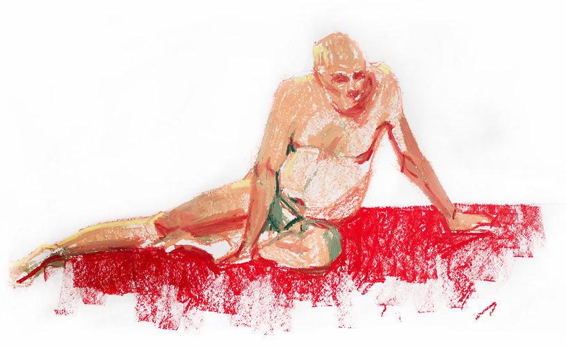 Kelly Frank Portrait Artist Studio London Female Artist Sky Portrait Artist of the year 2018 male nude life drawing gesture oil pastel