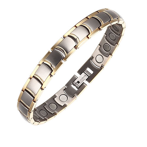 BTI-07 SILVER TITANIUM MEN BRACELET WITH A THIN GOLD PLATED EDGE