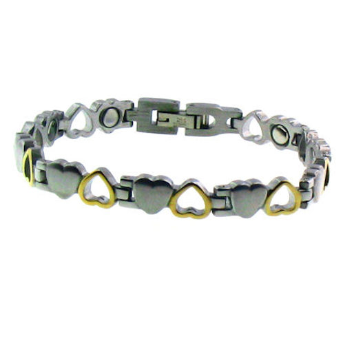 BSS-24 HEARTS STEEL AND GOLD PLATED BRACELET