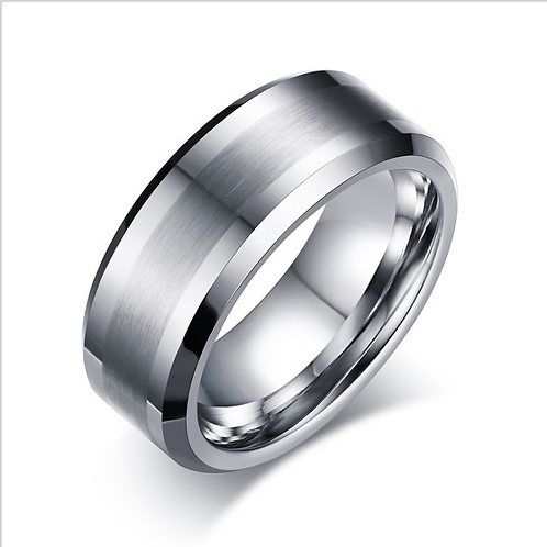 RT-02 TUNGSTEN SILVER COMFORT FIT BAND RING