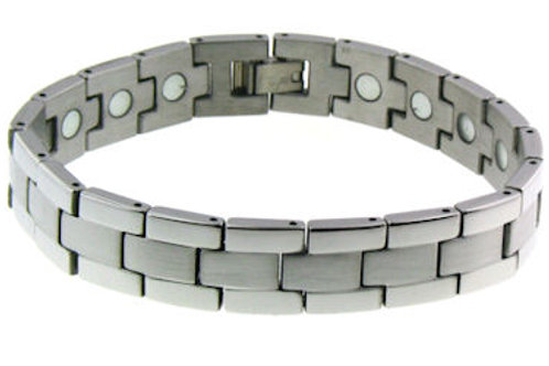 BSS-11 MAGNETIC SILVER STAINLESS STEEL BRACELET