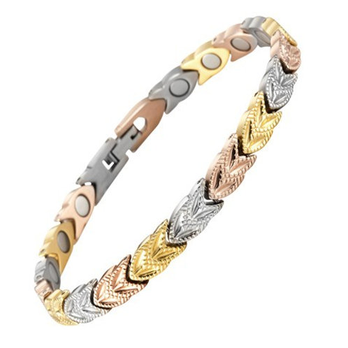 BTI-09 TRICOLOR LEAVES TITANIUM BRACELET