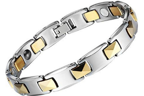 BTU- 10 MEN GOLD AND SILVER  PYRAMID LINK TUNGSTEN BRACELET