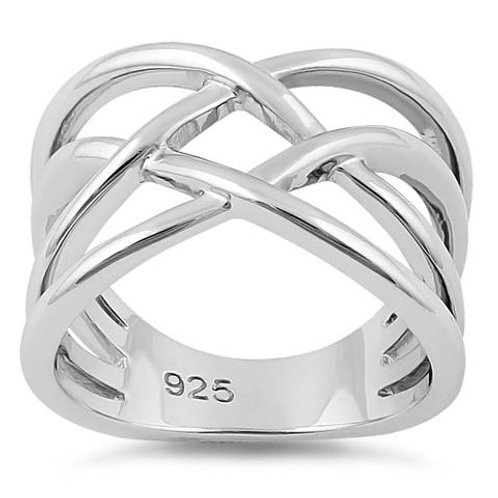 RV-11 WOVEN  STERLING SILVER RING