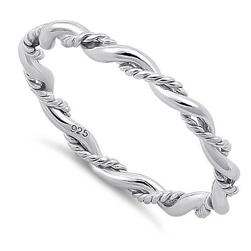 RV -12  STERLING SILVER ROPES RING