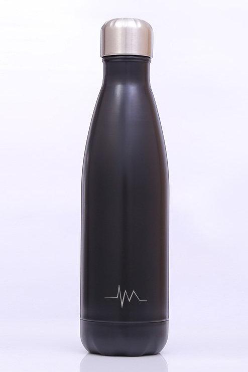 W-06 750 ml/25.3 oz  BLACK DOUBLE WALL STAINLESS STEEL WATER BOTTLE