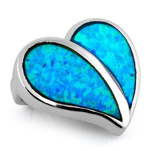 P-19 BLUE OPAL STERLING SILVER HEART