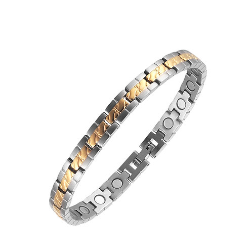 BSS 32 - GOLD PLATED CENTER BAND STAINLESS STEEL BRACELET