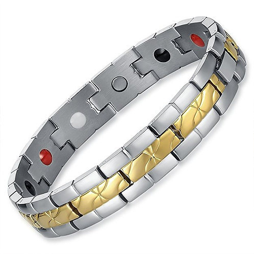 BSS-37 GOLD PLATED CENTER BAND STAINLESS STEEL BRACELET