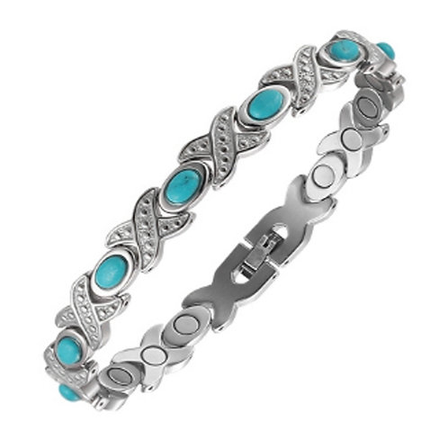 BSS-21 TURQUOISE STONES STAINLESS STEEL BRACELET