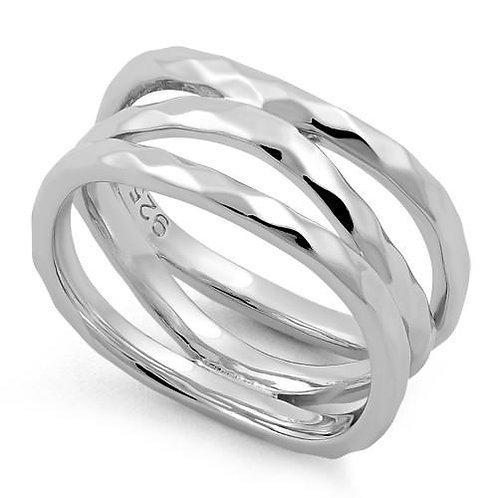 RV-08 WAVY BANDS SILVER RING