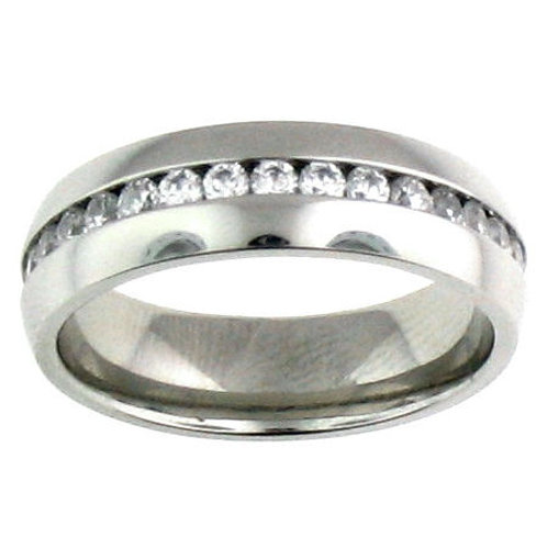 RZ-01 ZIRCONIA CHANNEL SET STAINLESS STEEL RING