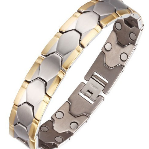 BSS-38 GOLD PLATED EDGE STAINLESS STEEL BRACELET