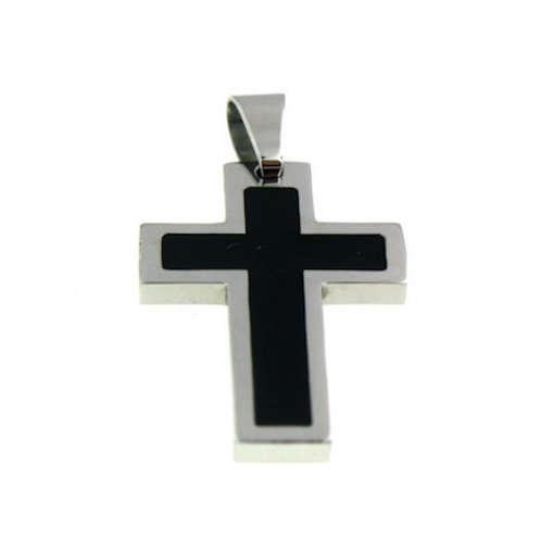 P-08 BLACK INLAY CROSS PENDANT