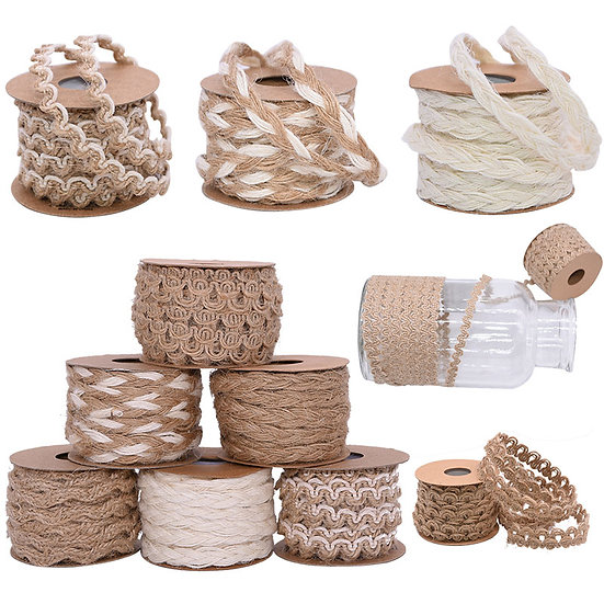 5Meter 5-10mm Vintage Natural Jute Burlap Ribbon Hemp Lace