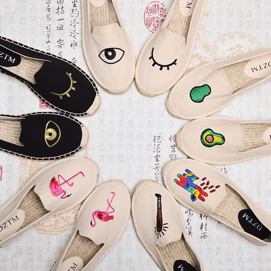 Fashion 16 Design Shoes Woman Flats Hemp Loafer Fishermen Shoes Espadrilles