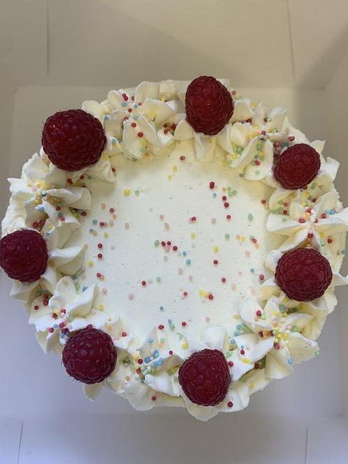 Birthday cake with raspberry jam & sprinkles